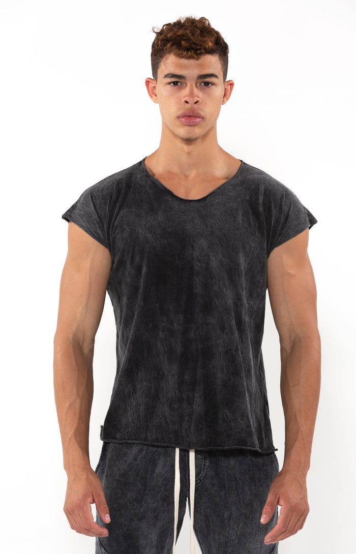 Capped Sleeve Black Mineral T - T-Shirts