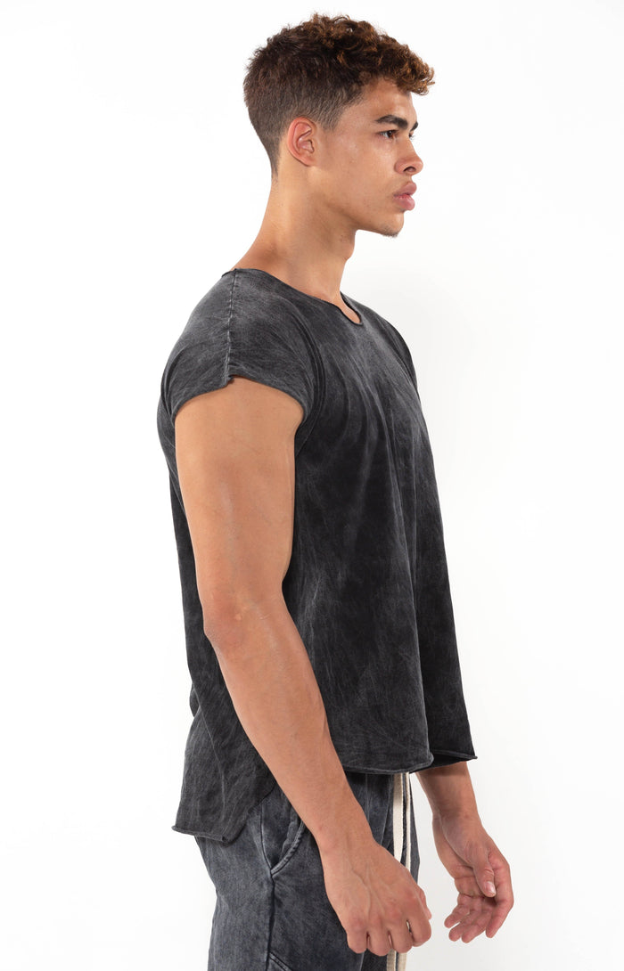 Capped Sleeve Black Mineral T - Golden Aesthetics