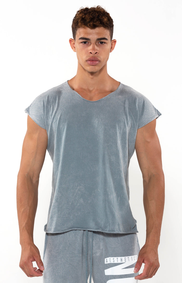 Capped Sleeve Vintage Cool Grey T - Golden Aesthetics