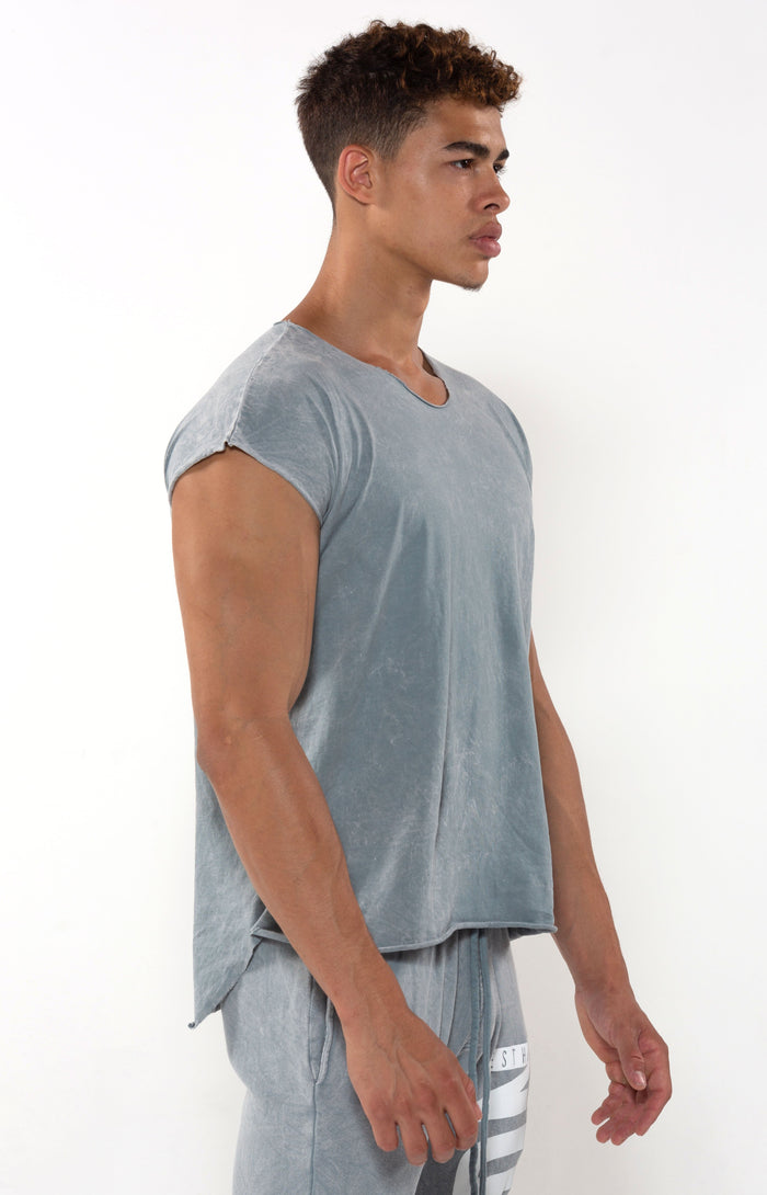 Capped Sleeve Vintage Cool Grey T - T-Shirts