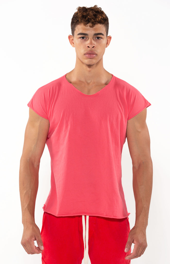 Capped Sleeve Vintage Red T - Golden Aesthetics