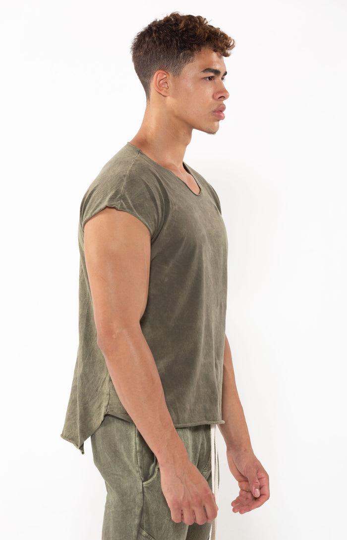Capped Sleeve T Vintage Olive - Golden Aesthetics