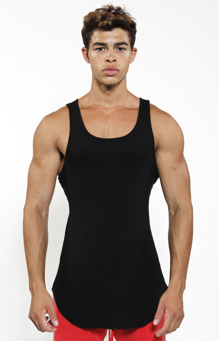 Fitted Rib Tank - Jet Black - Golden Aesthetics