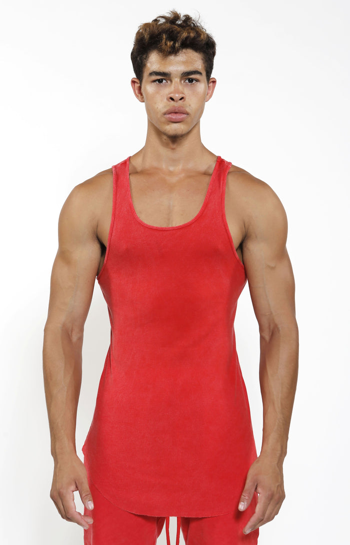 Fitted Rib Tank - Vintage Red - Golden Aesthetics