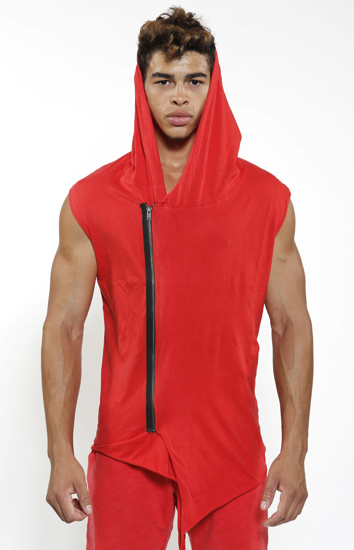 Sleeveless Assassin Hoodie - Vintage Red - Golden Aesthetics
