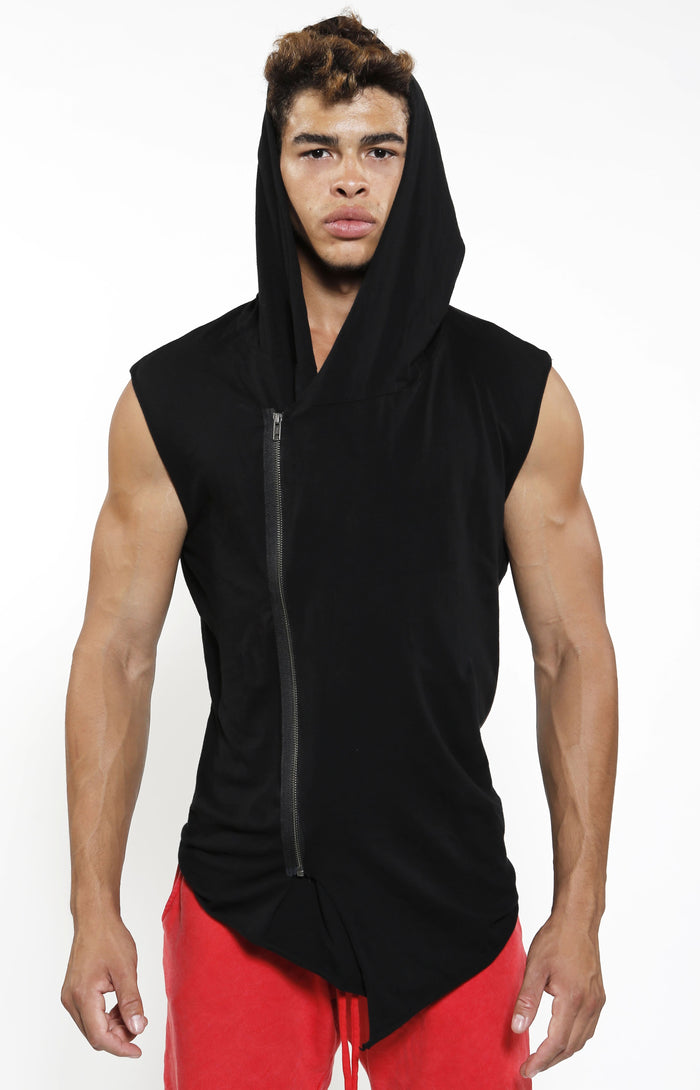 Sleeveless Assassin Hoodie - Jet Black - Golden Aesthetics