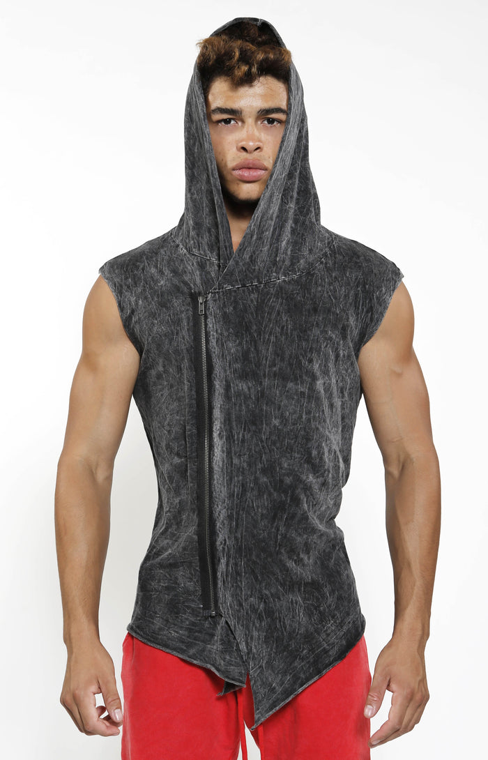 Sleeveless Assassin Hoodie - Charcoal Mineral - Top