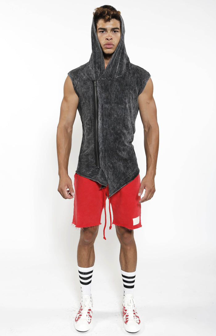 Sleeveless Assassin Hoodie - Charcoal Mineral - Golden Aesthetics