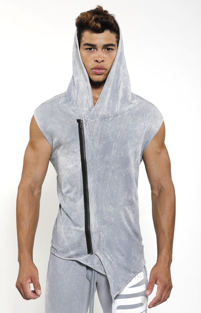 Sleeveless Assassin Hoodie - Cool Grey - Top
