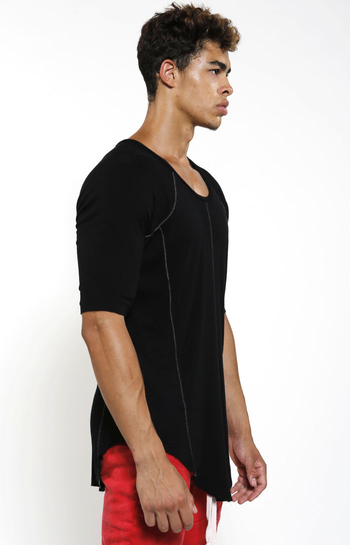 Fitted Rib Top - Black - Top