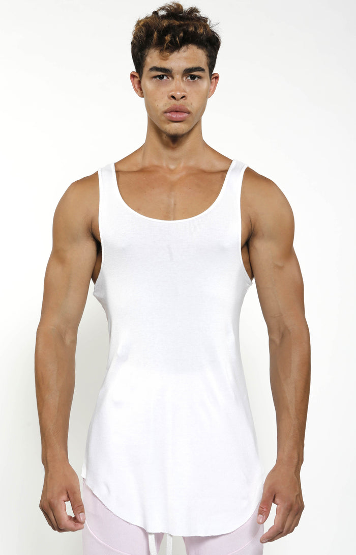 Fitted Rib Tank - White - Golden Aesthetics