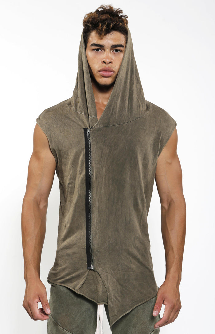 Sleeveless Assassin Hoodie - Olive Mineral - Golden Aesthetics