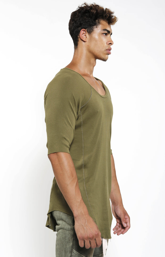 Fitted Rib Top - Military - Top