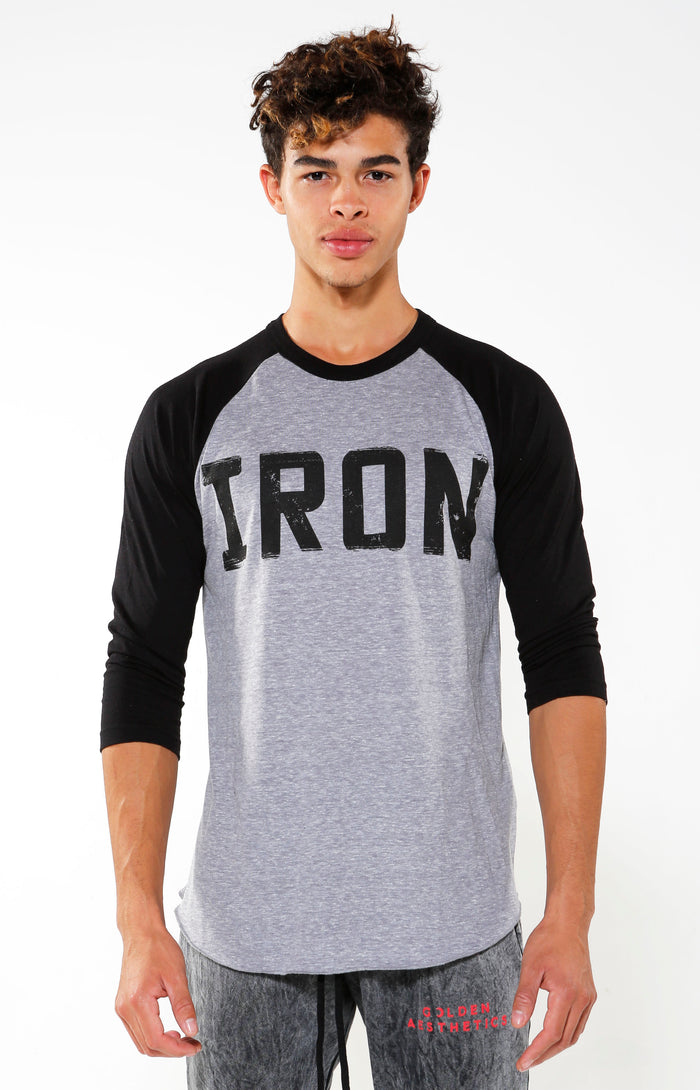 Iron Contrast Sleeve Raglan T-shirt - Black/Grey - Golden Aesthetics