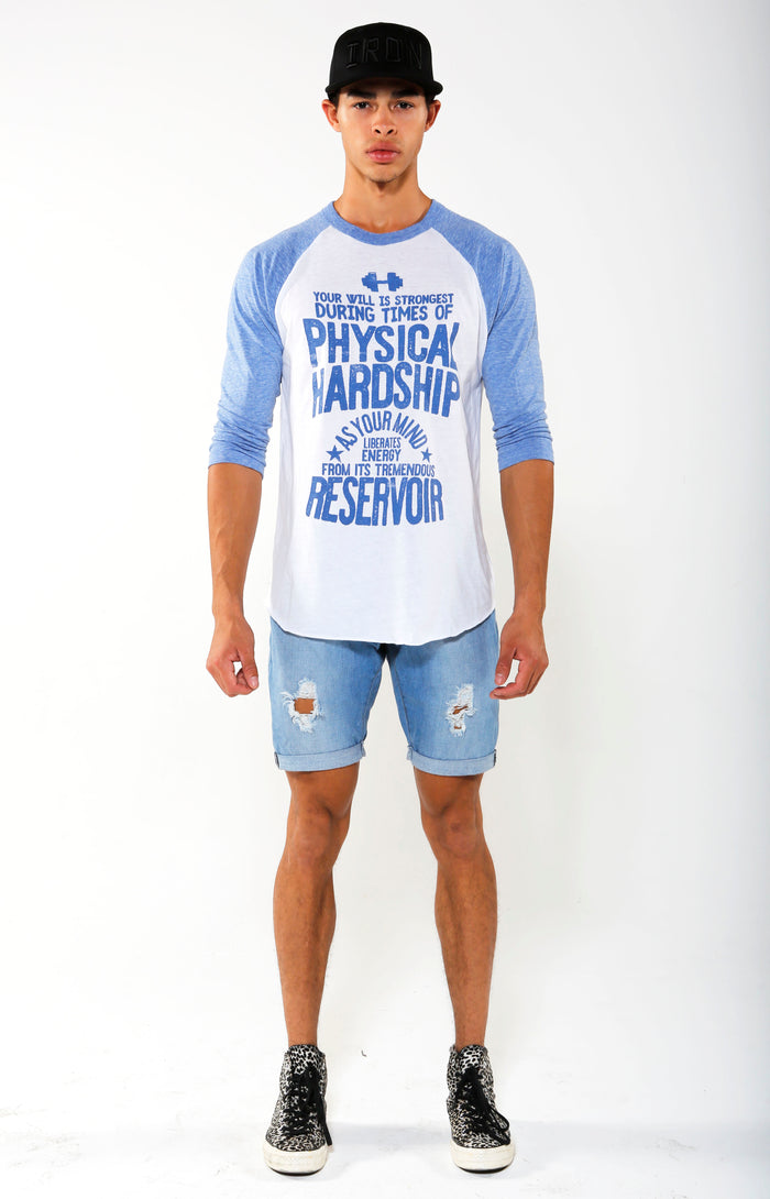 Reservoir Contrast Sleeve Raglan T-shirt - Baby Blue/White - Golden Aesthetics
