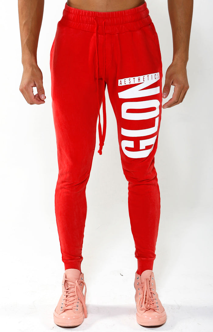 VIP Exclusive - Tapered GA Joggers - Candy Apple Red/White - Golden Aesthetics