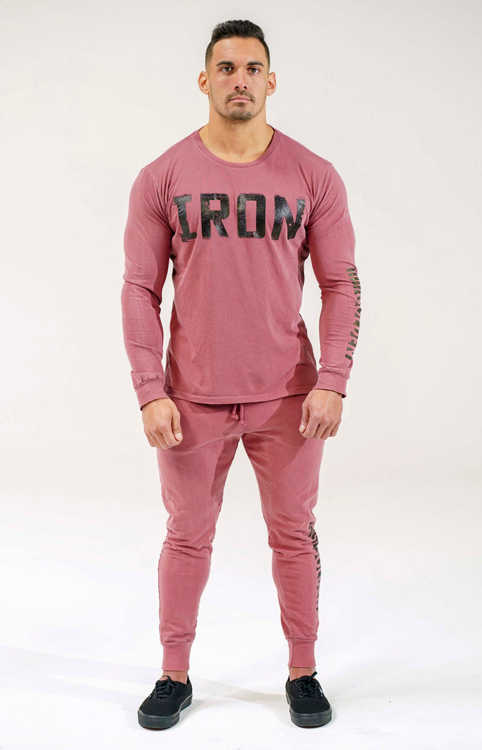 Faded Wine Crew Neck Long Sleeve