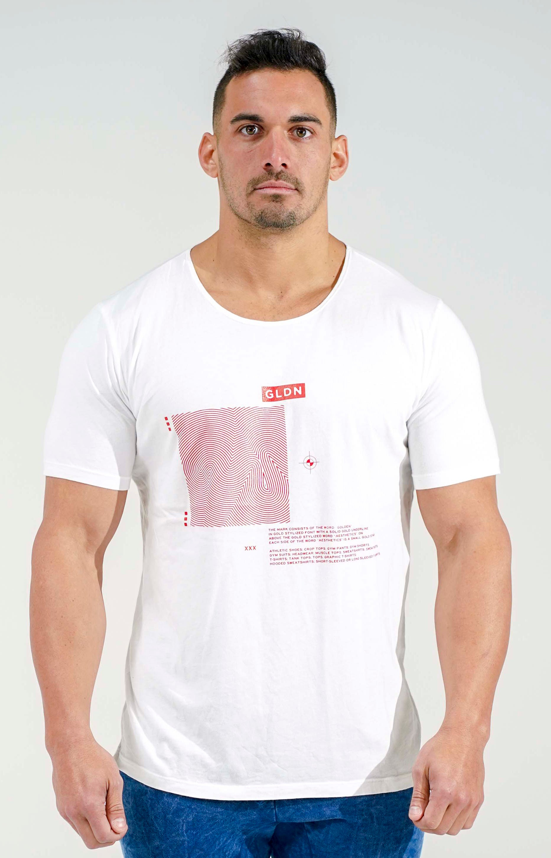 White/Red GLDN Scoop Neck T-Shirt