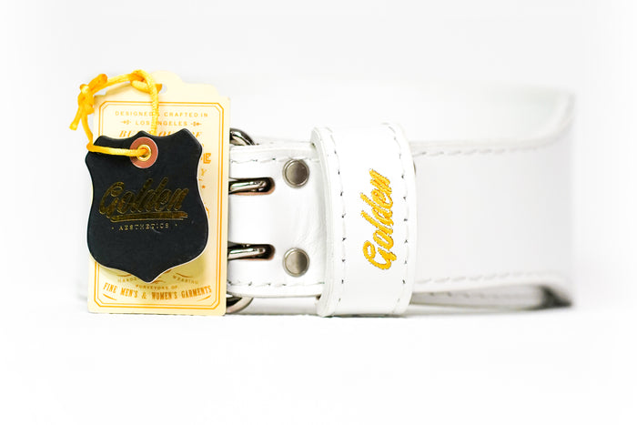 White/Gold Classic GA Leather Weightlifting Belt