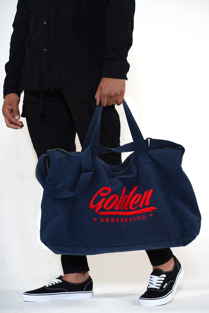 Golden Aesthetics Navy Gym Bag