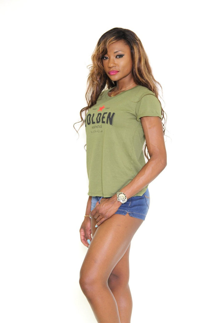 Ga Her Rolled Sleeve T - Military Green - T-Shirts For Her