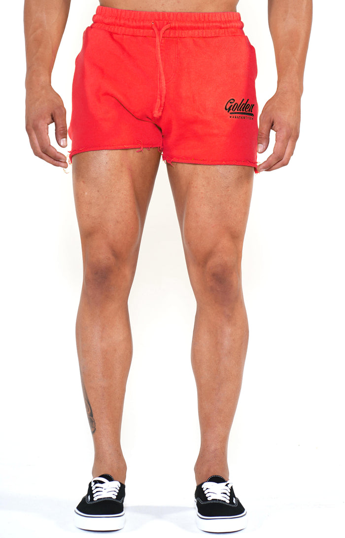 Men's Mineral Red/Black Shorts - Golden Aesthetics