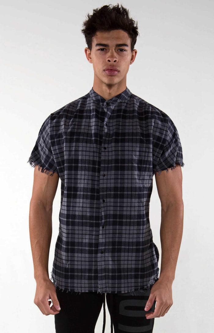 Raw Hem Flannel - Night Marl Checker - Golden Aesthetics