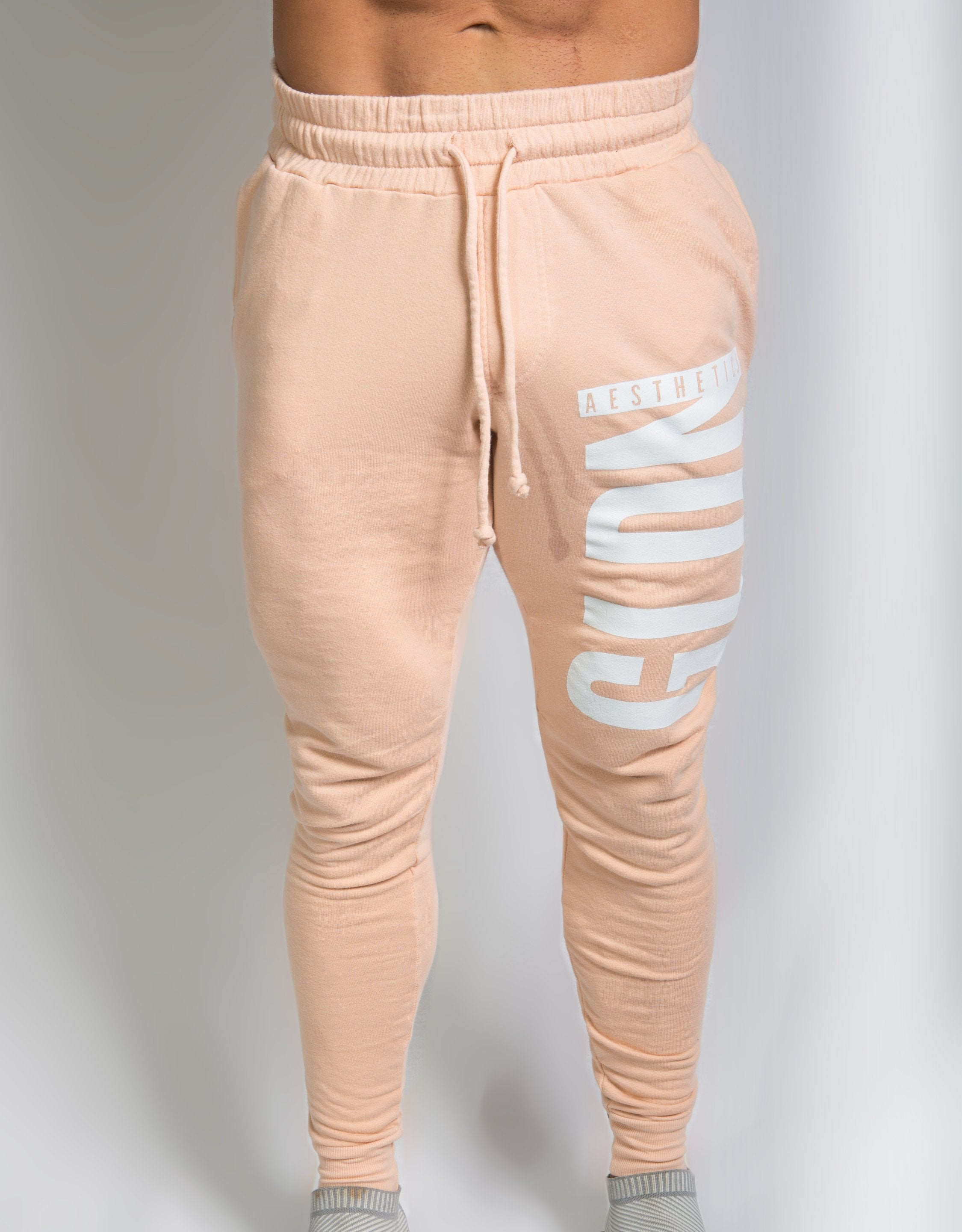 Tapered GA Joggers - Faded Peach - Golden Aesthetics