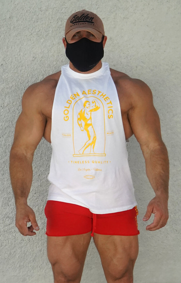White/Gold Muscle Tank