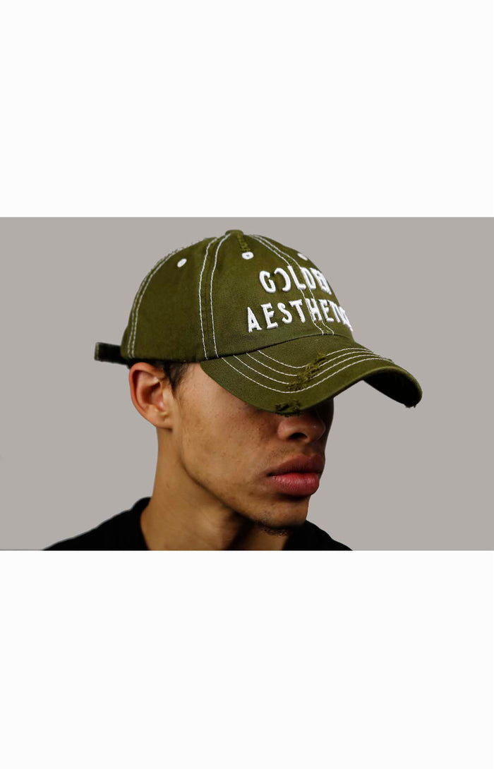 Men's Golden Distressed Denim Cap - Green/White | Golden Aesthetics - Golden Aesthetics