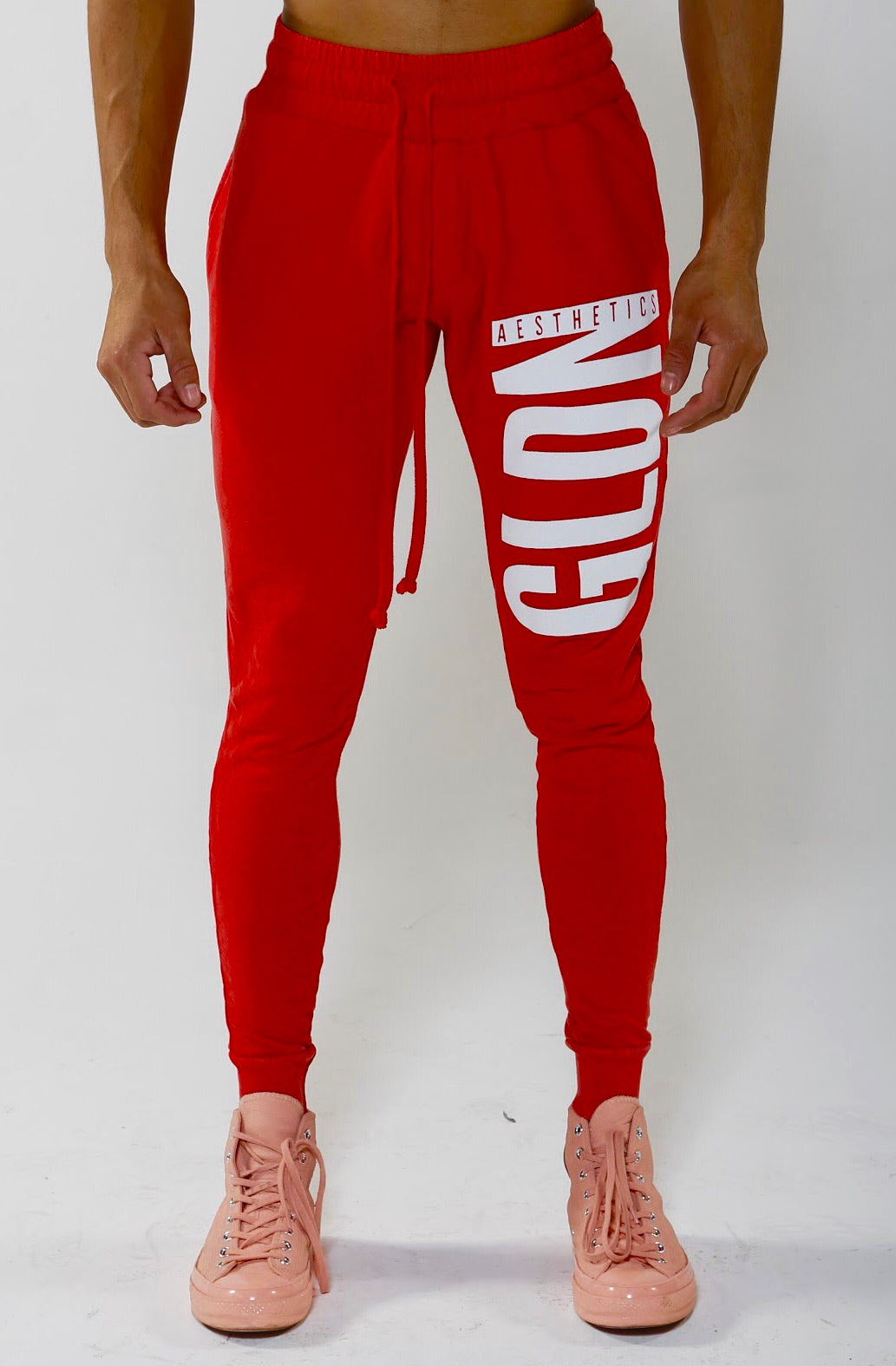Limited Edition Tapered GA Joggers - Red/White - Golden Aesthetics