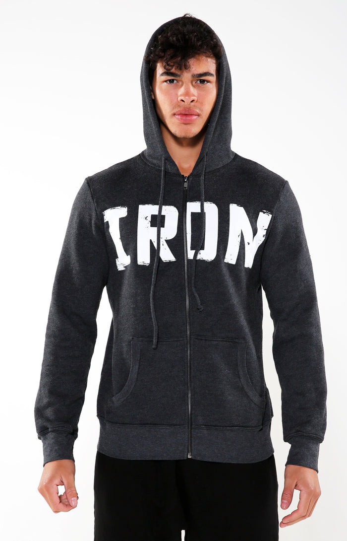 Men's Charcoal & White Iron Hoodie | Golden Aesthetics - Golden Aesthetics
