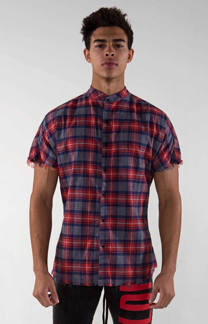 Raw Hem Flannel - Red Magenta Checker - Golden Aesthetics