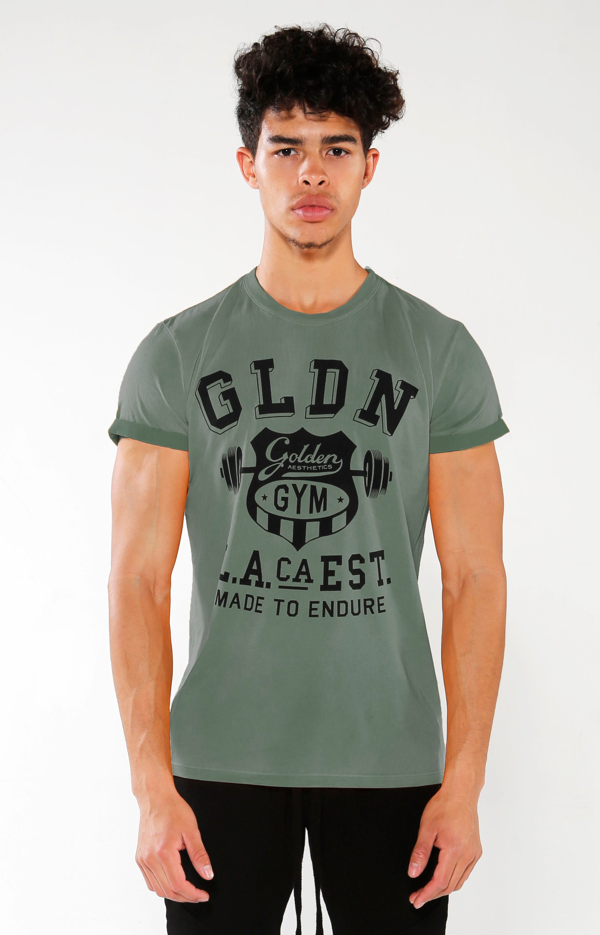 Men's Green GLDN Crest T-Shirt | Golden Aesthetics - Golden Aesthetics