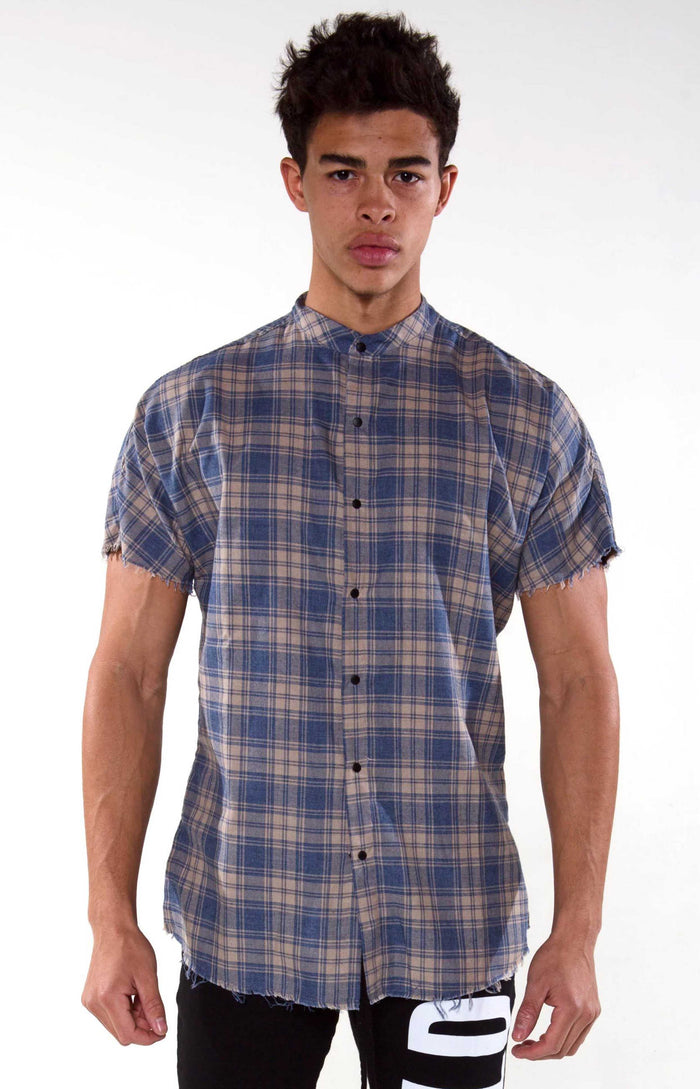 Raw Hem Flannel - Washed Blue Checker - Golden Aesthetics