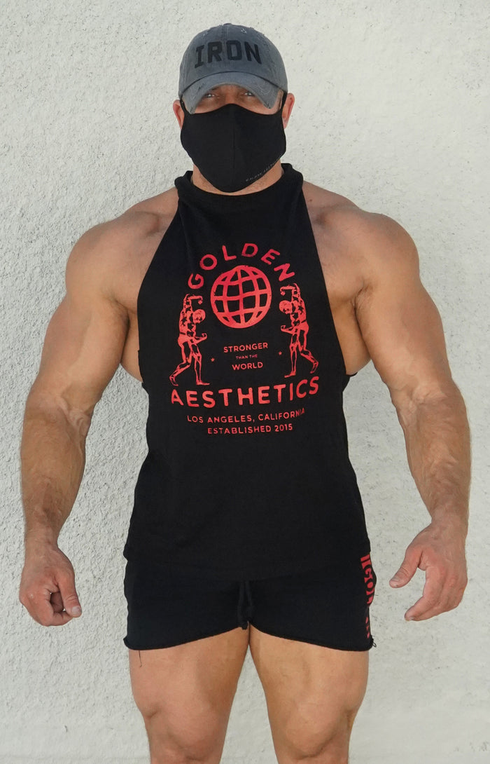 Black/Red Muscle Tank