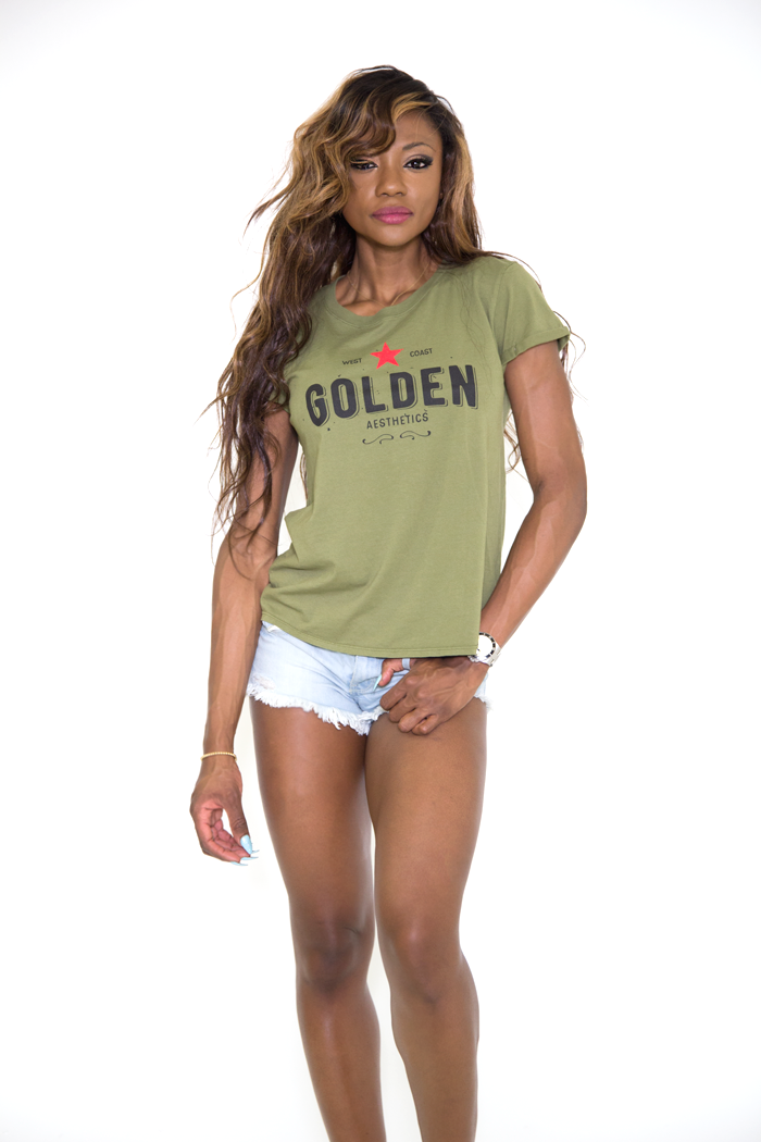 GA Her Rolled Sleeve T - Military Green - Golden Aesthetics