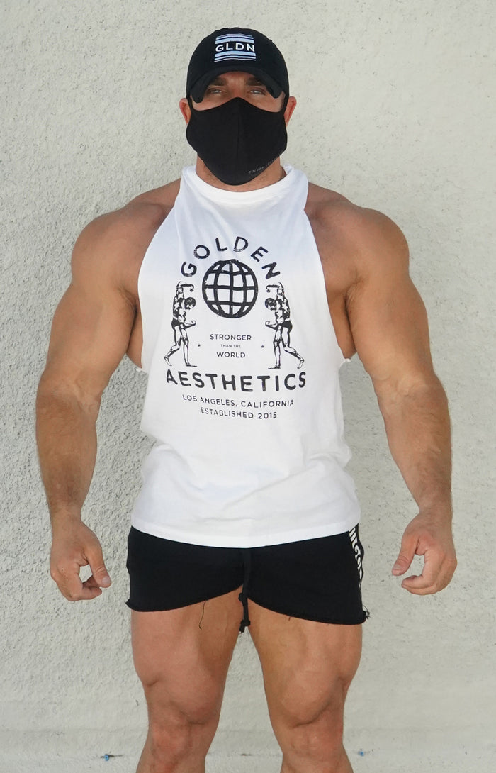 White/Black Muscle Tank