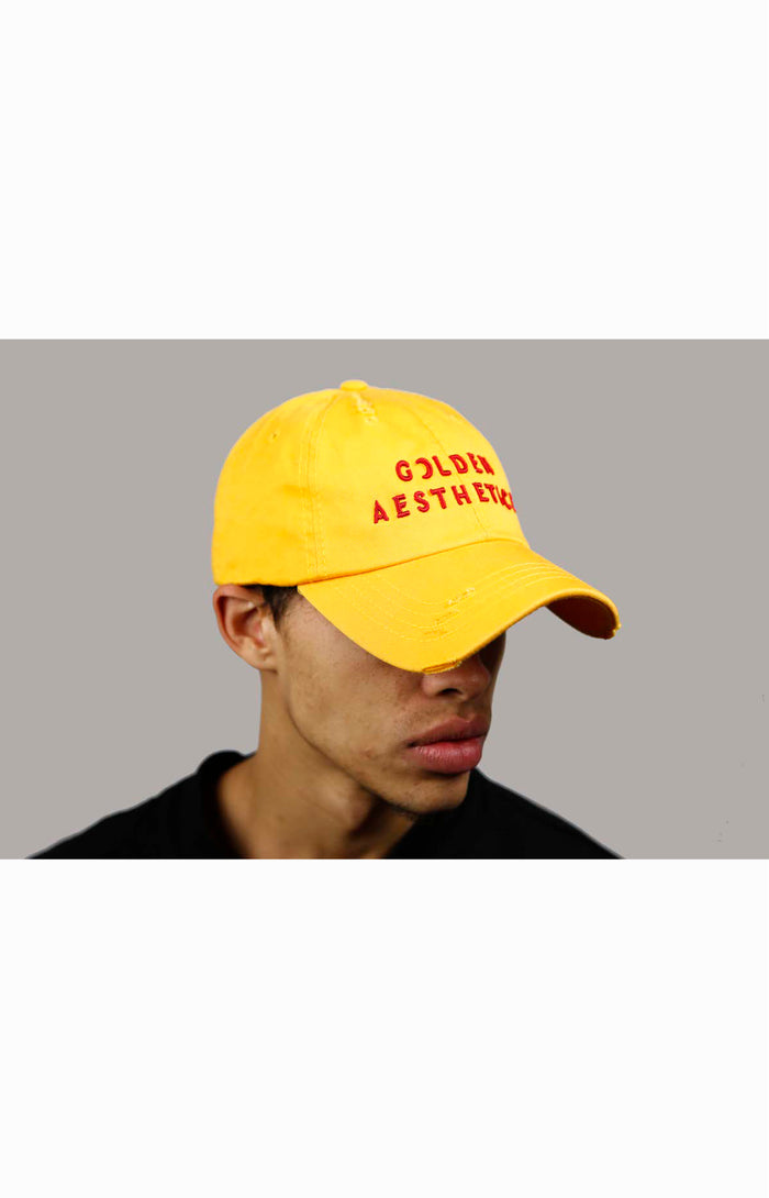 Men's Golden Distressed Denim Cap - Yellow/Red | Golden Aesthetics - Golden Aesthetics