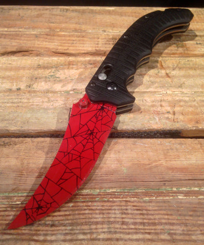 Crimson Web Flip Knife