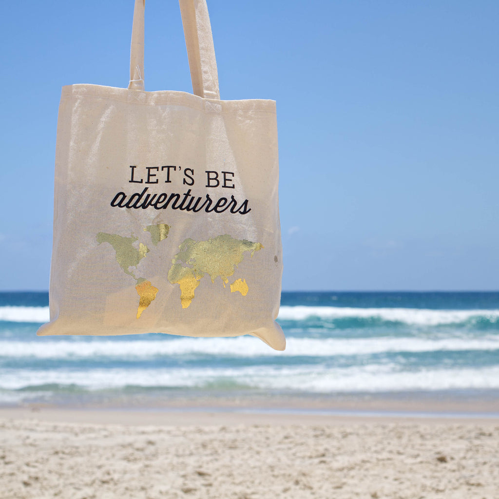 """Let's Be Adventurers"" cotton tote bag"