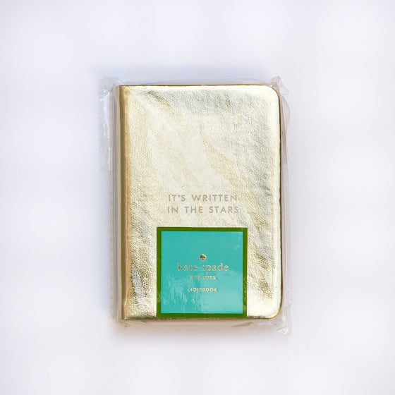 "Kate Spade ""It's written in the stars"" Gold mini notebook"
