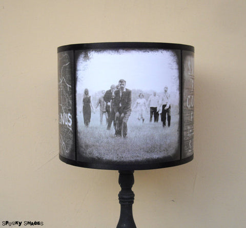10 great holiday gift ideas for horror fans serial killer shop check out this unique handmade lampshade featuring classic night of the living dead zombie images plus some cool walking dead references too negle Image collections