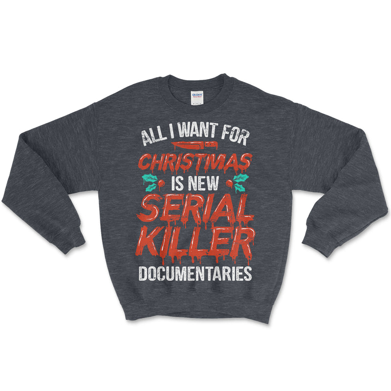 Serial Killer Documentaries Christmas Sweater Grey