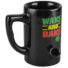 Ceramic Water Pipe Mug - 8oz - Rasta Wake & Bake