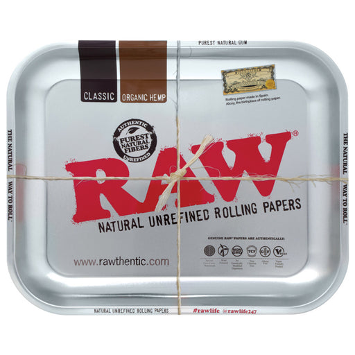 RAW High Seeded Steel Rolling Tray Silver - 2 Sizes