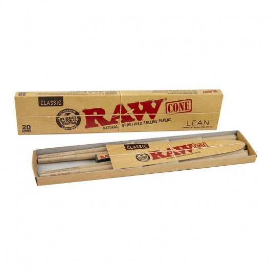 RAW Classic Pre Rolled Cones Lean Size - 20 Cones Per Pack