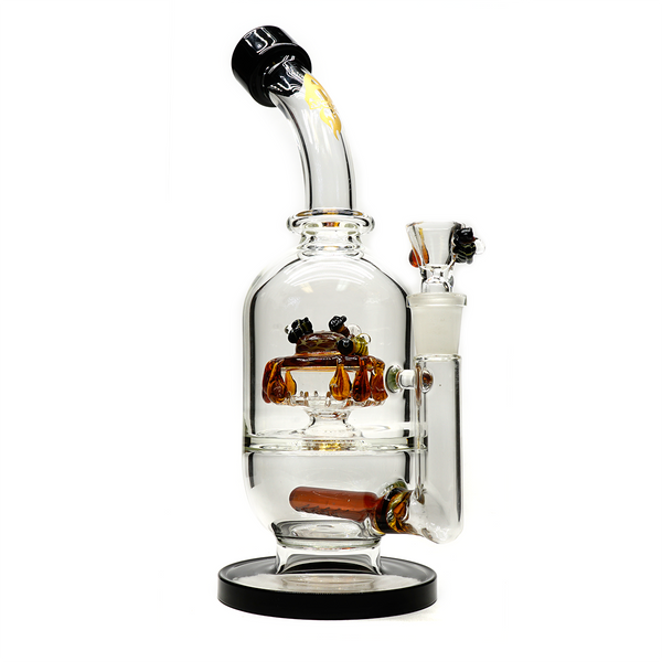 "Apollo Glassworks 10"" Honey Bee Bubbler"