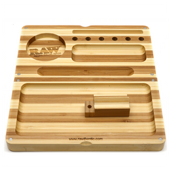 RAW Limited Edition Striped Wood Backflip Magnetic Rolling Tray