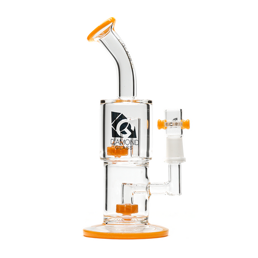 "Diamond Glass 8"" Micro Circ to Circ Double Can Dab Rig - Orange"